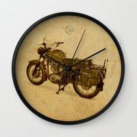 ducati Wall Clocks featuring Ducati vintage background by Larsson Stevensem