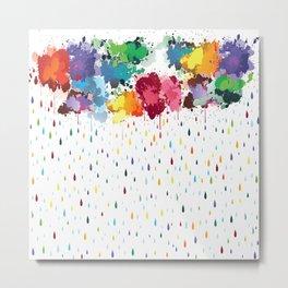 Rainbow raindrops Metal Print