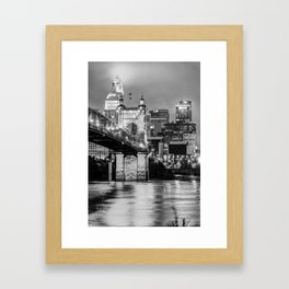 Cincinnati Ohio Skyline and Bridge - Black and White Framed Art Print