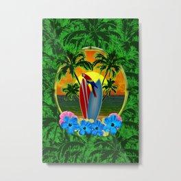 Tropical Sunset Palm Trees Metal Print
