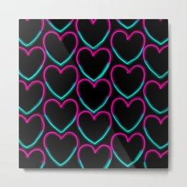 Neon hearts Metal Print