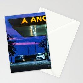 Night Scene Gas Station Building, Montevideo, Uruguay Stationery Cards