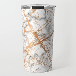 Marble Texture and Gold Splatter 039 Travel Mug