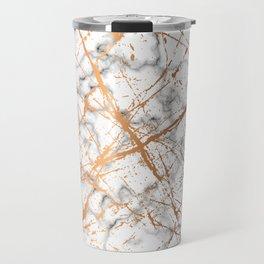 Marble Texture and Gold Splatter 039 Travel Mug