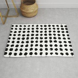 Black and White Minimal Minimalistic Polka Dots Brush Strokes Painting Rug