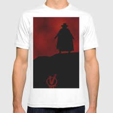 V for Vendetta (e3) Mens Fitted Tee MEDIUM White