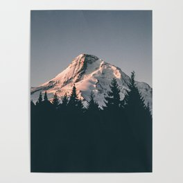 First Light on Mount Hood Poster