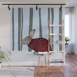 Rabbit Wintery Holiday Design Wall Mural