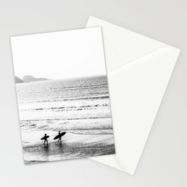 Surfers, Black and White, Beach Photography Stationery Cards