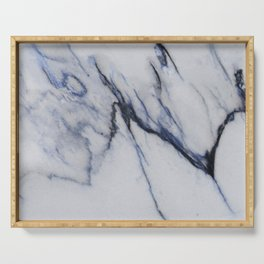 White Marble with Black and Blue Veins Serving Tray