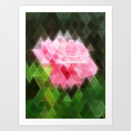 Pink Roses in Anzures 3 Art Triangles 2 Art Print