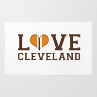 nfl Area & Throw Rugs featuring LUV Cleveland by C. Wie Design