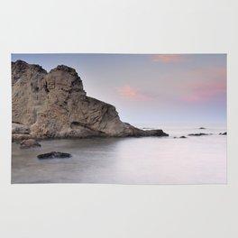 Silver sea at sunset Rug