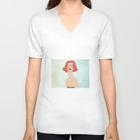 smoking V-neck T-shirts featuring smoking by Summer Fall
