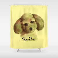 poodle Shower Curtains featuring Poodle by Det Tidkun