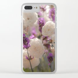 White roses and lavender scent Clear iPhone Case