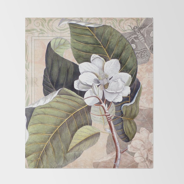 Vintage White Magnolia  Throw Blanket