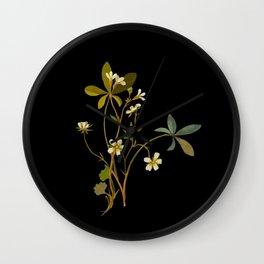 Saxifragia Granulata and Potentilla Alba Cinquefoil Paper Flower Collage Vintage Botanical Floral Wall Clock