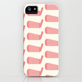 Golf Club Head Vintage Pattern (Beige/Pink) iPhone Case