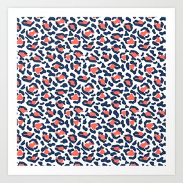 Abstract Leopard Print in Coral and Navy Blue Art Print