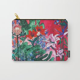 Ruby Red Floral Jungle Carry-All Pouch
