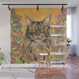 Honeysuckle Cat (Maine Coon Cat) Wall Mural
