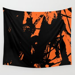 Orange Base black Wall Tapestry