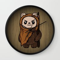 ewok Wall Clocks featuring Cartoon Ewok by Team Rapscallion