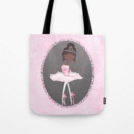 Pink & Grey Brown Ballerina Dancer Tote Bag
