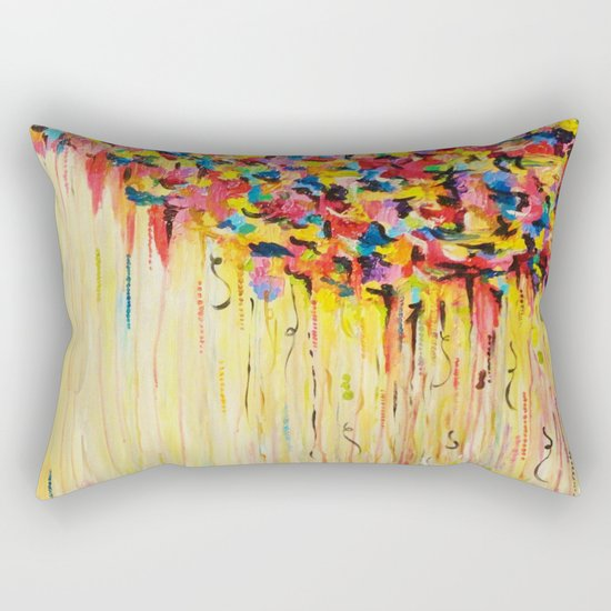 OPPOSITES LOVE Raining Sunshine - Bold Bright Sunny Colorful Rain Storm Abstract Acrylic Painting Rectangular Pillow