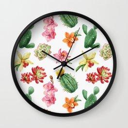 Watercolor Cacti Pattern Wall Clock