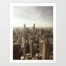 Chicago Buildings Sears Tower Sky Sun Color Photo Art Print