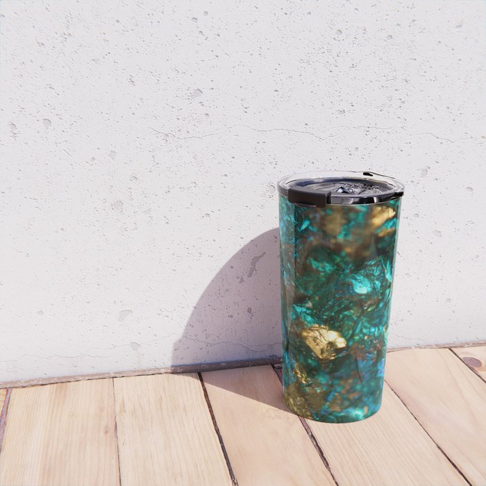 Teal Oil Slick and Gold Quartz Travel Mug