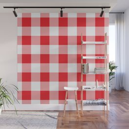 Red Gingham Pattern Wall Mural