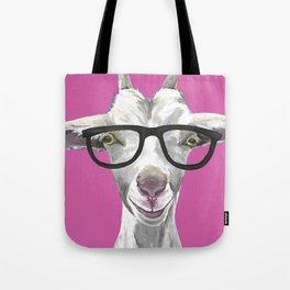 Goat with Glasses, Farm Animal Art Tote Bag