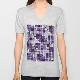Purple | Squares Unisex V-Neck