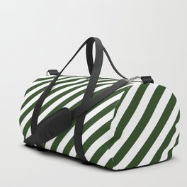 Large Dark Forest Green and White Candy Cane Stripes Duffle Bag