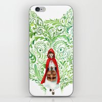 red riding hood iPhone & iPod Skins featuring Red Riding Hood by Stephane Lauzon