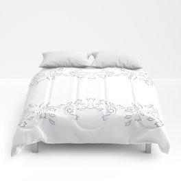 Grayish Blue White Floral Border Comforters