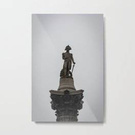 Admiral Nelson Statue atop Nelson's Column Trafalgar Square London England Metal Print