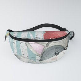 Winter Woodland Friends Cute Racoon Snowy Forest Illustration Fanny Pack