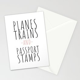 Planes, Trains and Passport Stamps Stationery Cards