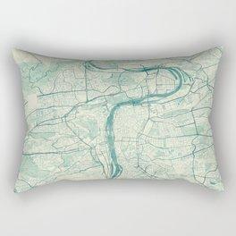 Prague Map Blue Vintage Rectangular Pillow