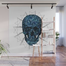 Sequins skull on abstract background Wall Mural