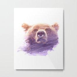 BEAR SUPERIMPOSED WATERCOLOR Metal Print