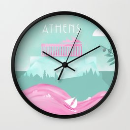 Cities in Pink - Athens Wall Clock