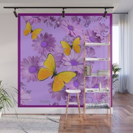 Yellow Butterflies Pinkish Lilac Color Purple Daisy Flowers Wall Mural
