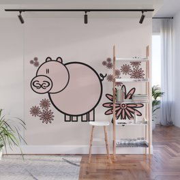 Pink pig in flowers Wall Mural