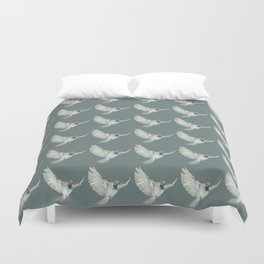 Pattern: Sparrow on blue-grey Duvet Cover
