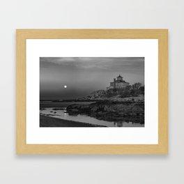 "Full ""Pink"" Moon at Good Harbor Beach BW Framed Art Print"